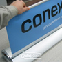 Banner Stands Category - Retractable vertical free standing with printed graphics