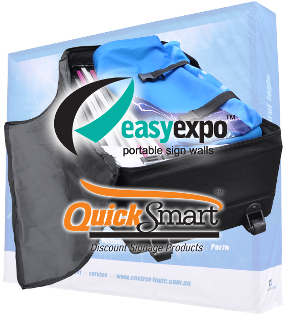 The Carry Bag with wheels makes the Easy Expo Frame easy to transport