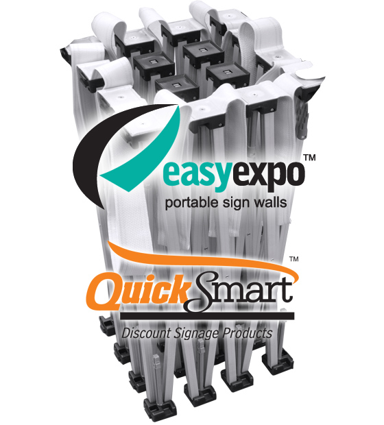 Professional Portable Exhibition Signage. Great for interview backdrops or quickly filling a wall space with branding.