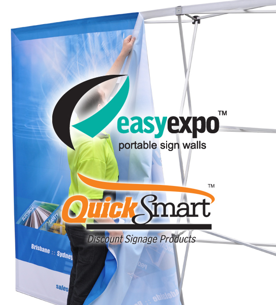 The Easy Expo Pop-up display allows for interchangeable signage, allowing the EasyPanel frame to be re-used.