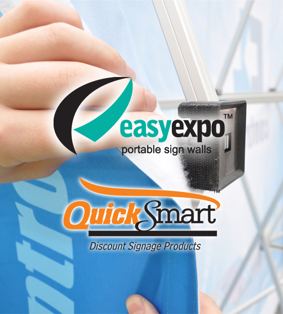 Banners attach to the Easy Expo display stands using velcro, making the Easy Expo extremely easy to setup.