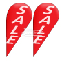 Teardrop Flags w Flag Pole kit Pre designed Printed 'SALE' White on Vibrant Red