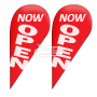 Teardrop Flags w Flag Pole kit Pre designed Printed 'NOW OPEN' White on Vibrant Red
