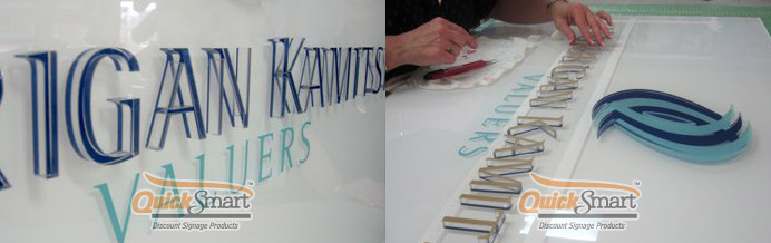 The letters are being prepared for installation onto the Acrylic Panel. The Ice sign effect can be seen when viewing the letters on a slight angle.