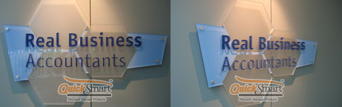 Clear Acrylic Panel Sign cut to shape of the logo. The panel sign is supplied with Stainless Steel Stand-off pins for simple installation.