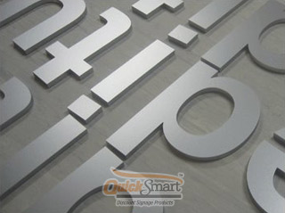 145mm high Laser Cut Acrylic lettering. Spray painted with Silver Solvent paint.