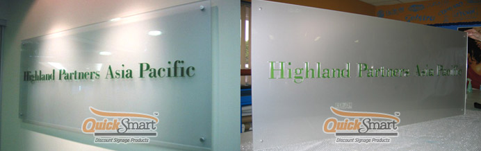 Simple Laser Cut lettering adhered to the face of a 1500mm x 800mm Frosted Acrylic Panel