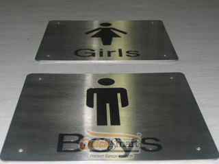 Engraved Stainless Steel Panel Signs with Male and Female Toilet symbols