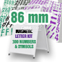 White handle style Aframe WITH 86 mm high magnetic 3 color CUSTOM COLOR lettering kit - 300 Capital letters & Symbols